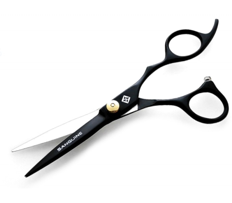 "Hairdressing Scissors Scissors with Finger Rest Black 5.5"" with Protection Case"