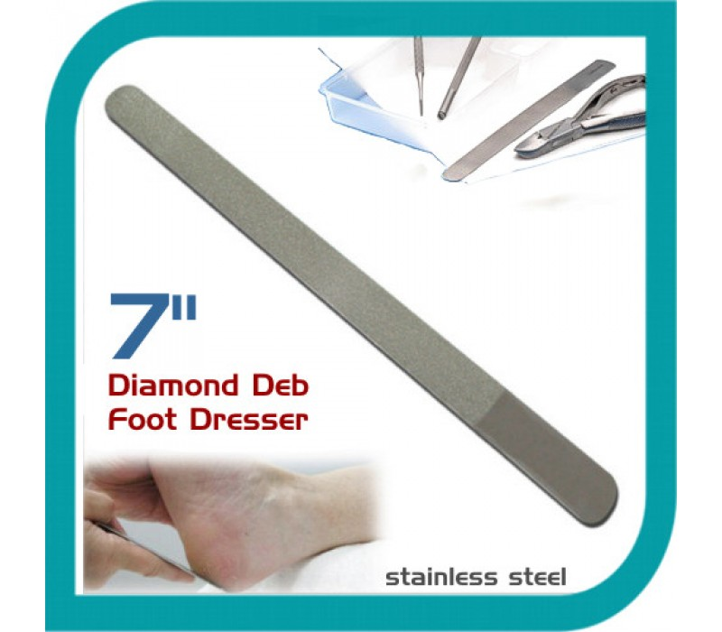 Nail File Dimond Deb Foot Dresser Stainless Steel Metal Nail File Silver 7""