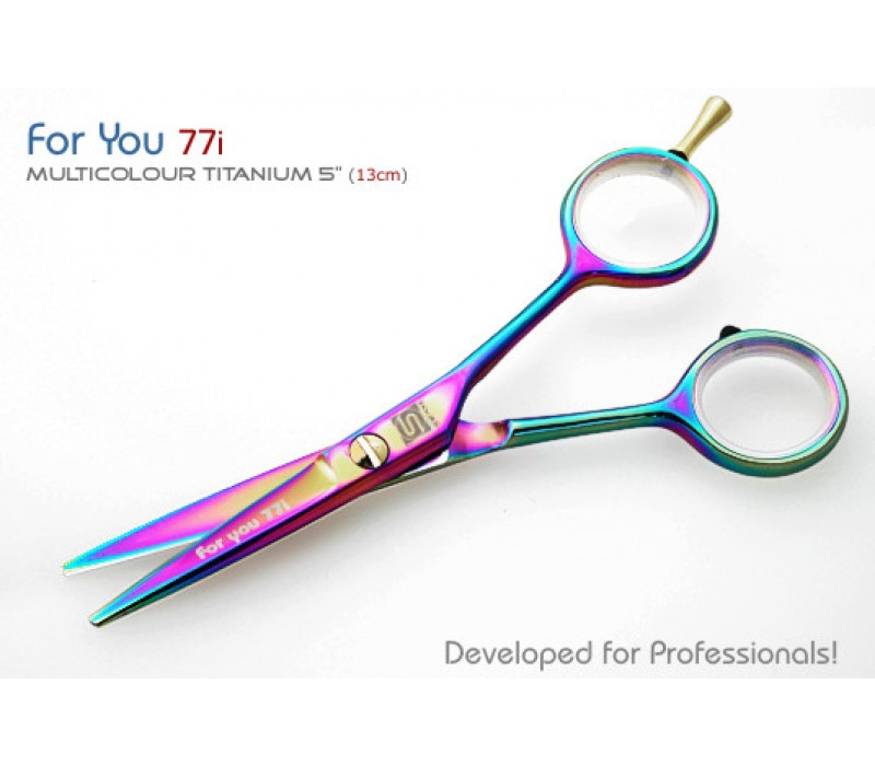 For You 77i Titanium Coated Multicolor Right Hand Orient Hair Scissors with Case