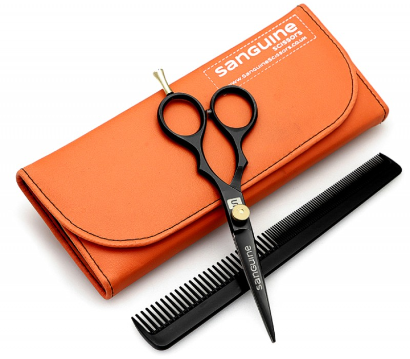 "Professional Quality Hair Scissors Barber Scissors Black 5.5"" with Orange Case"