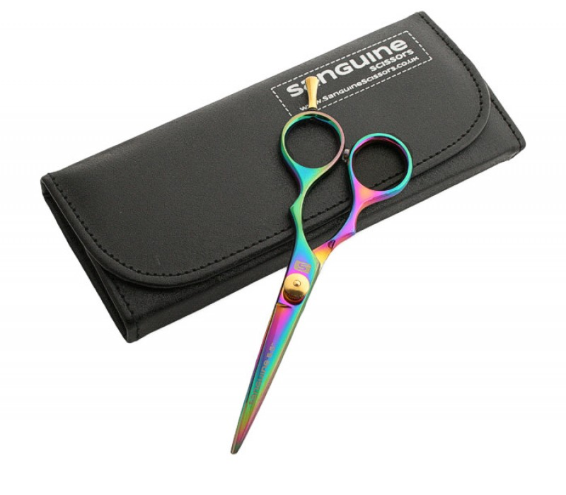 "Mustache Hairdressing Scissors Sharp Titanium Scissors Multicolor 5"" in Black Case"