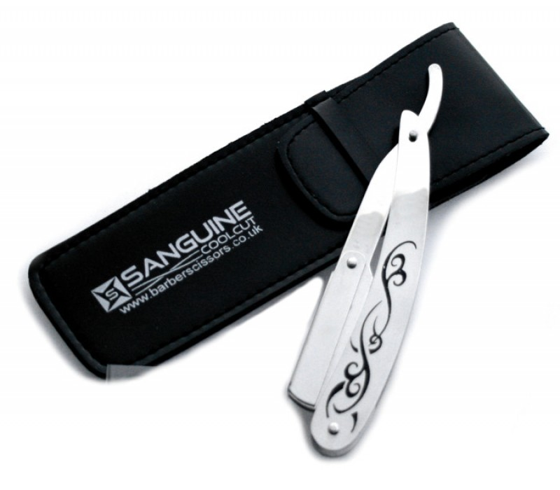 Straight Cut Shaving Razors Stainless Steel Tribal Design Razors with Black Case