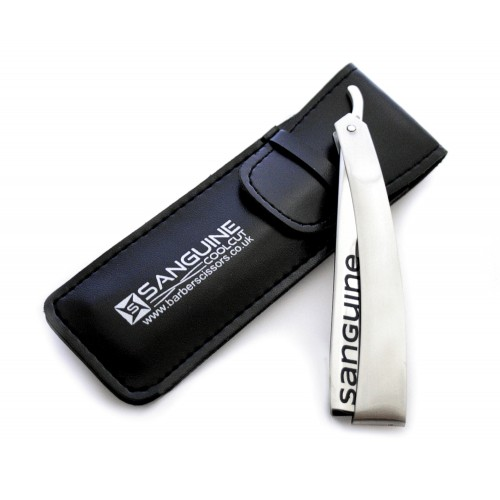 Straight Cut Stainless Steel Shaving Razors Silver with Black Presentation Case