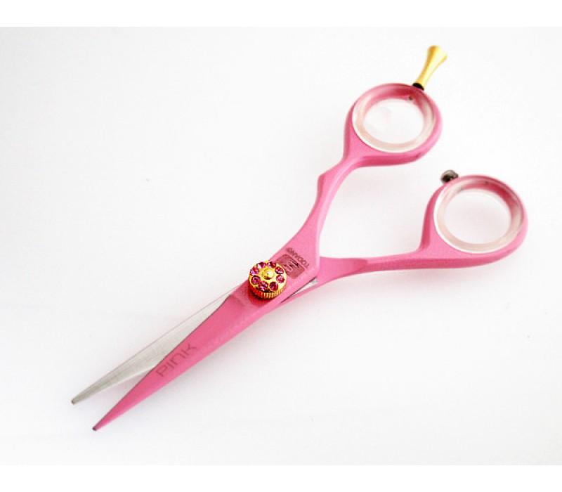 "Razor Sharp Haircutting Scissors Barber Scissors Pink 5"" with Black Case"