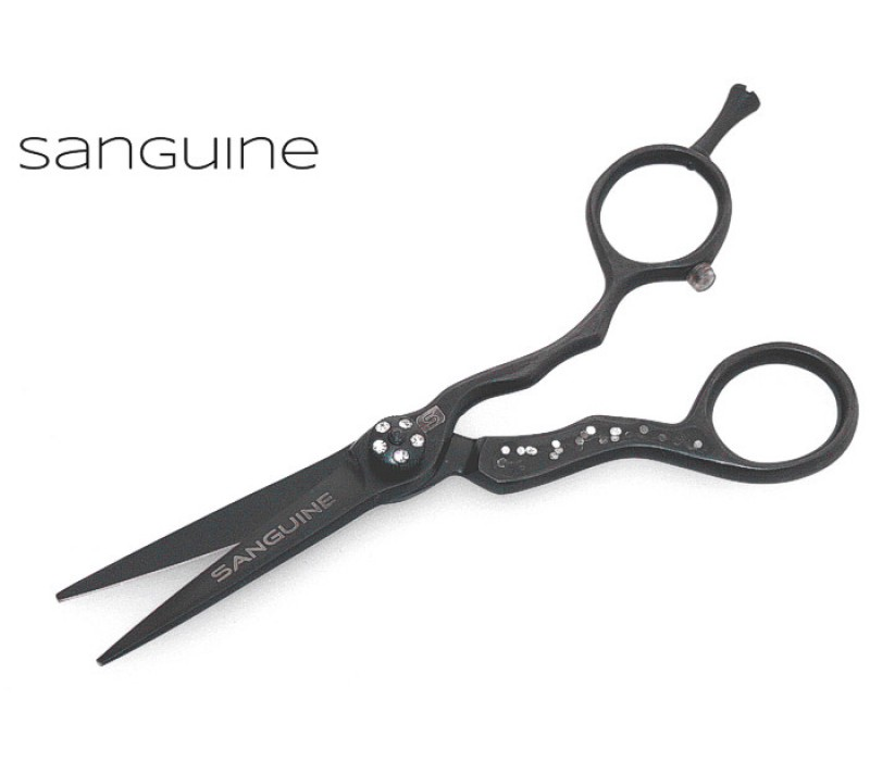 "Stylish Salon Scissors Hairdressing Scissors Offset Black 5.5"" with Case"