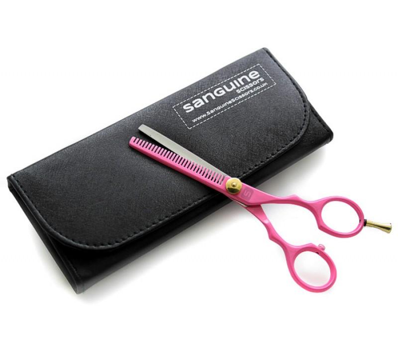 "Professional Hair Thinning Scissors Salon Scissors Pink 5.5"" with Black Case"