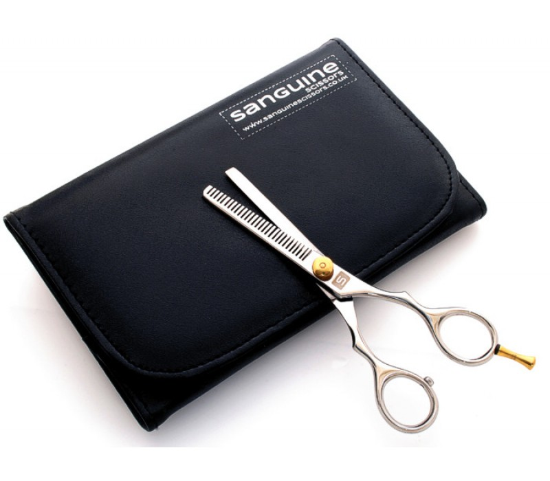 "Hair Thinning Scissors Barber Thinning Scissors Chrome 5.5"" with Case"