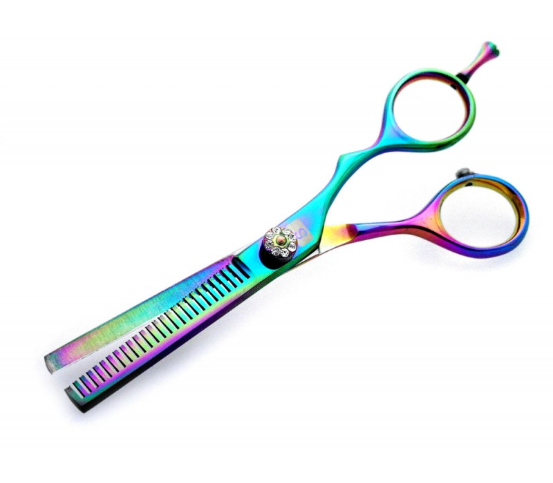 "Barber Hair Thinning Scissors Offset Crane Style Multicolor 5.5"" with Black Case"