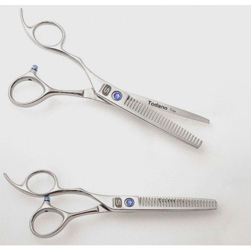 """Left Hand Hair Thinning Scissors Offset Style Scissors Silver 5.75"""" in Case"""
