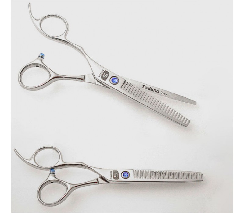 "Left Hand Hair Thinning Scissors Offset Style Scissors Silver 5.75"" in Case"