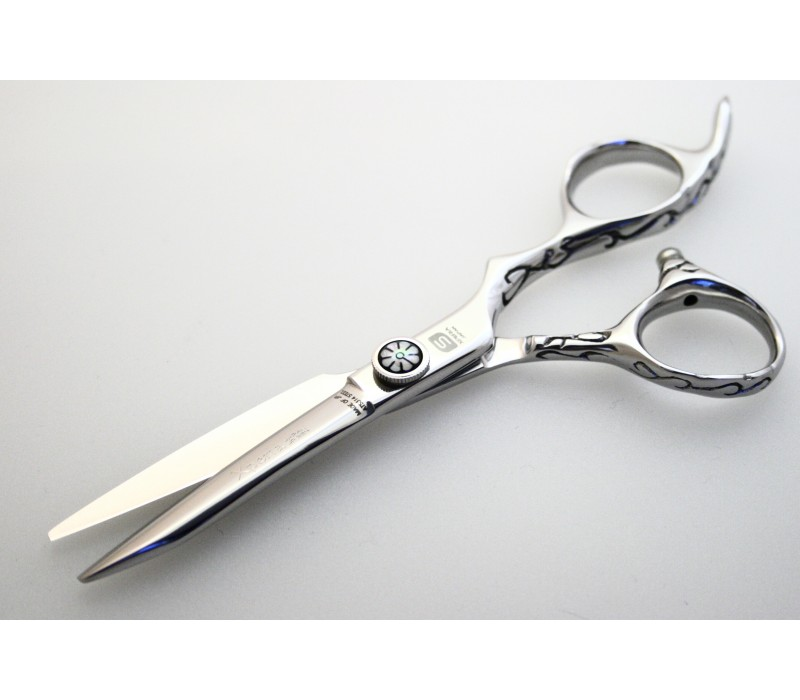 "Professional Hair Scissors Japanese Hitachi Steel Offset Scissors 5.5"" Silver"