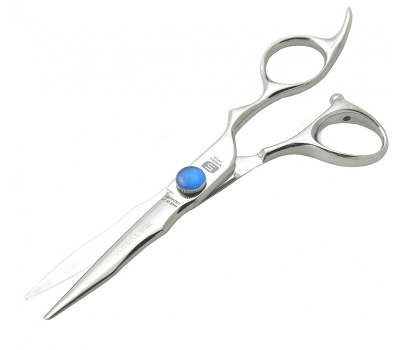 Xperia JP325 Hitachi Offset Silver Hair Scissors 14 cm Blue Stone Knob and Case