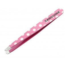 New Salon Hair Removing Tweezers Slanted Tip Pink Polka with Safety Tip Cover