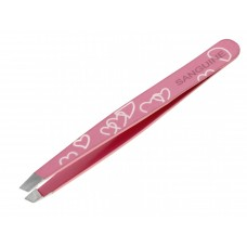 Eyebrow Hair Removing Tweezers Slanted Tip Pink Heart with Safety Tip Cover