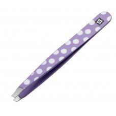 Hair Plucking Tweezers Eyebrow Tweezers Slant Tip Purple Dots with Tip Protector