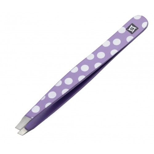 Hair Plucking Tweezers Eyebrow Tweezers Slant Tip Purple Dots with Tip Protector