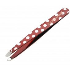 New Eyebrow Hair Removing Tweezers Slanted Tip Red Polka with Safety Tip Cover