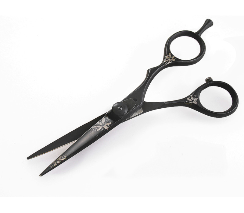 Black Hair Cutting Scissors, Offset, Flowers Details, 5.5 inch