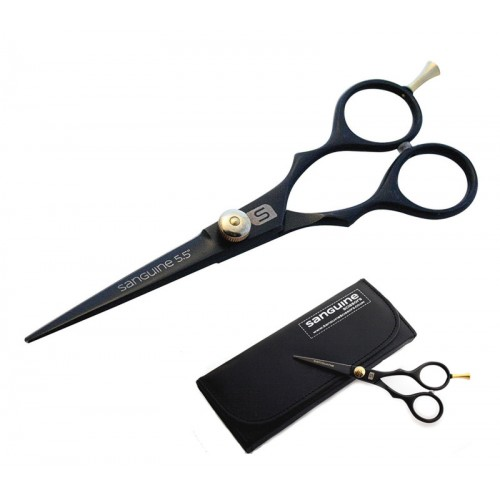Professional Hair Scissors Black Multiple Sizes with Golden Tension Screw and Finger Rest + Presentation Case