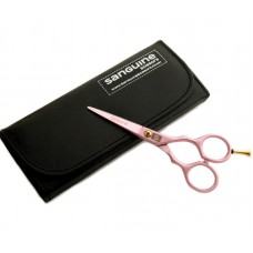 Professional Hair Scissors Pink Multiple Sizes with Golden Tension Screw and Ringer Rest