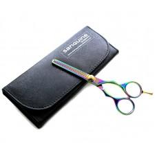 """Titanium Scissors Hair Thinning Scissors Multicolor 5.5"""" with Black Case"""