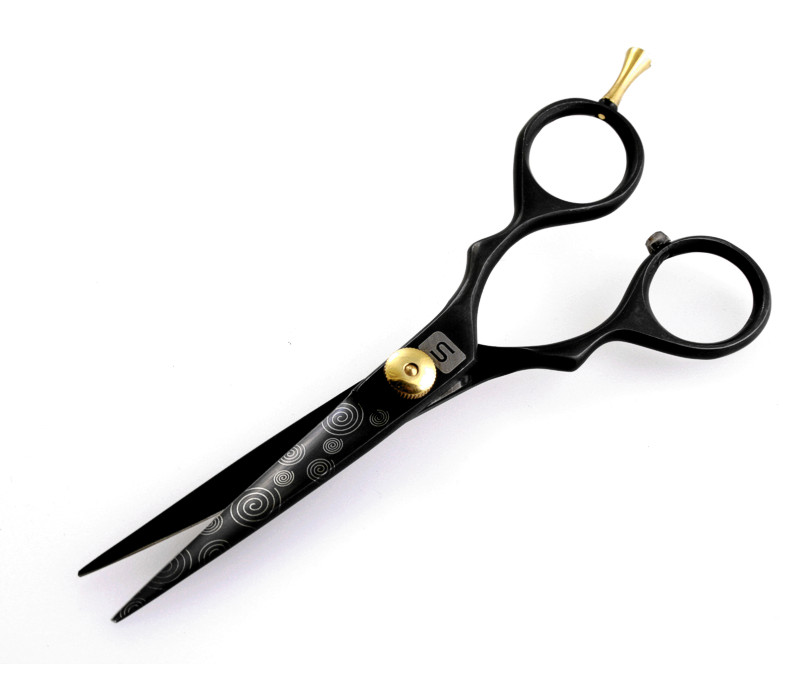 "Stylish Hair Scissors Sharp Haircutting Scissors Black 5.5"" with Free Case"